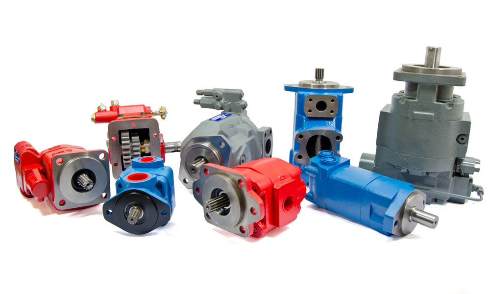 Metaris brand hydraulic piston pumps, vane pumps and gear pumps laid out on white background.