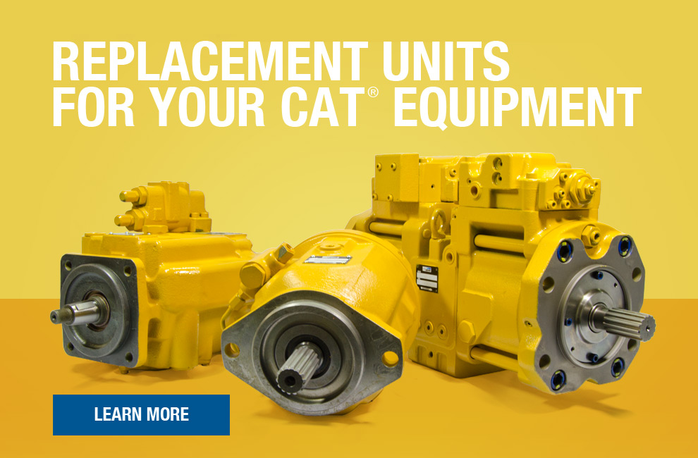 CAT yellow painted replacement hydraulic pumps for Caterpillar Equipment on yellow background