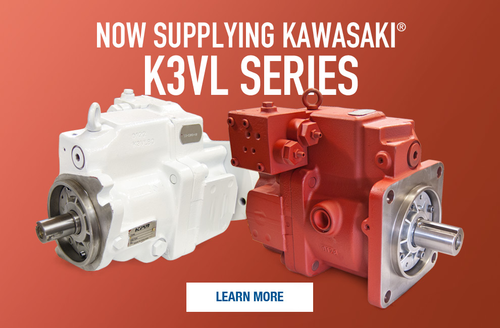 White and red painted Kawasaki K3VL series hydraulic pumps