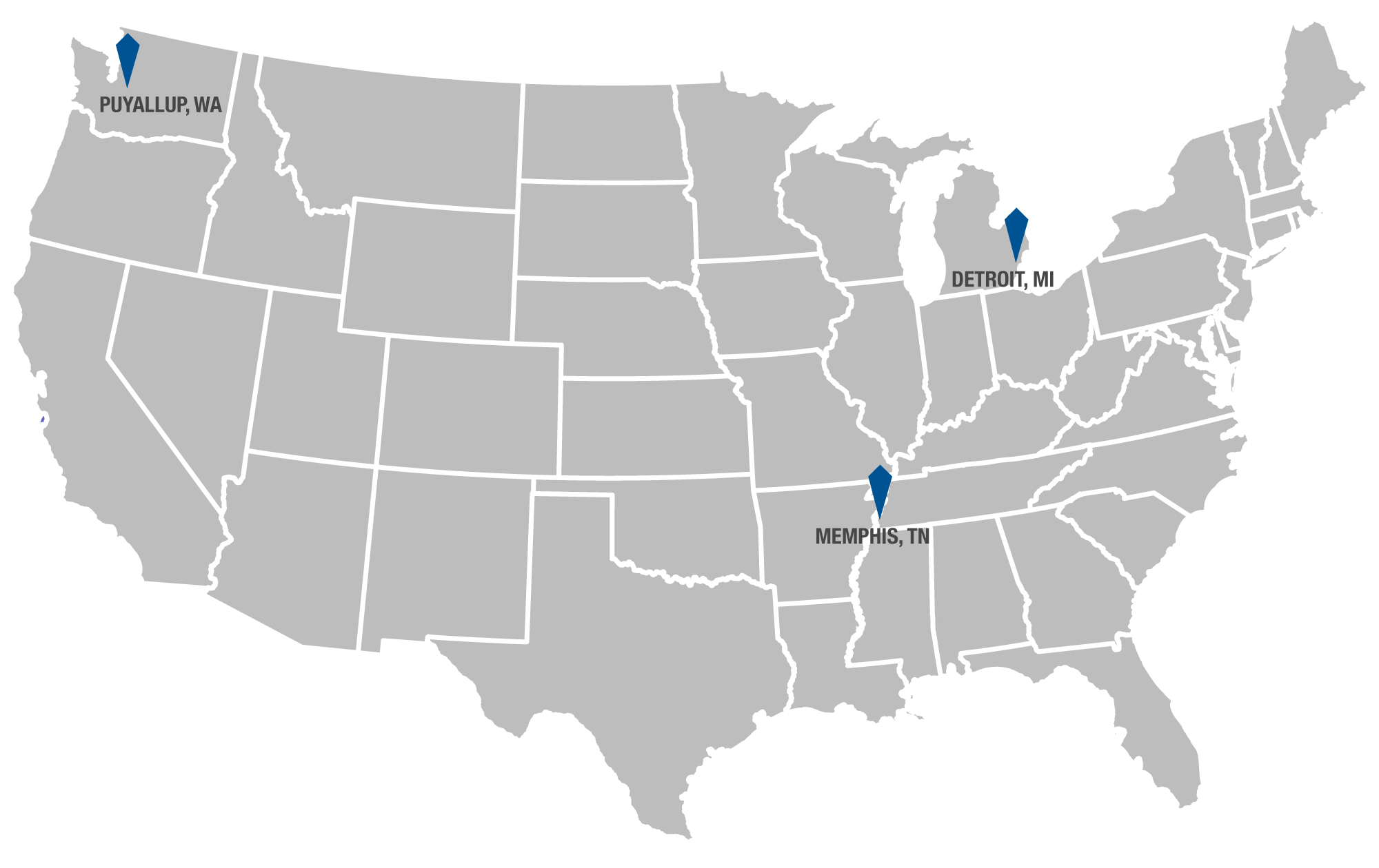 Hydraulex - Nationwide Workplace - With 4 locations in the U.S.A - Grey Map